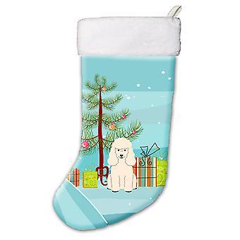 Веселая Рождественская елка пуделя белого Рождественский чулок