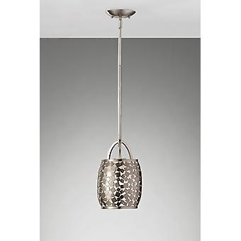 FE/ZARA/P Brushed Steel Zara Mosaic Ceiling Pendant with Organza Shade