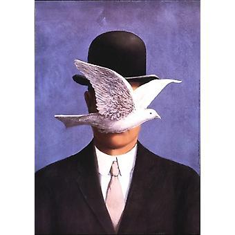 Mannen med Bowler lue Poster trykk av Rene Magritte (20 x 28)