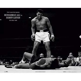 Мухаммад Али - 1965 первый раунд плей-офф против Сонни Листона Плакат Плакат Печать