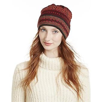 100% Alpaca Hand Knit Winter Beanie Hat - Montreal Red Pattern