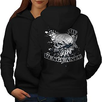 Lord Of Vengeance Skull Women BlackHoodie Back | Wellcoda