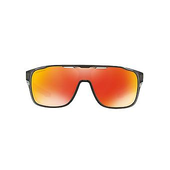 Oakley Crossrange Shield Sunglasses In Matte Grey Smoke Ruby Prizm