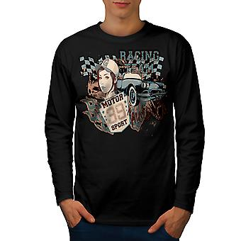 Vintage Racing Sport Men BlackLong Sleeve T-shirt | Wellcoda