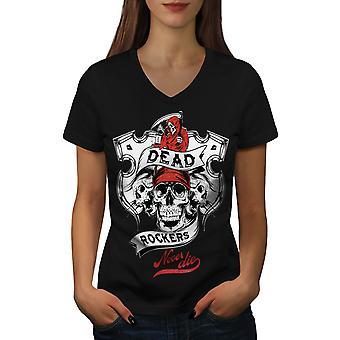 Dead Rockers Grim Skull Women BlackV-Neck T-shirt | Wellcoda