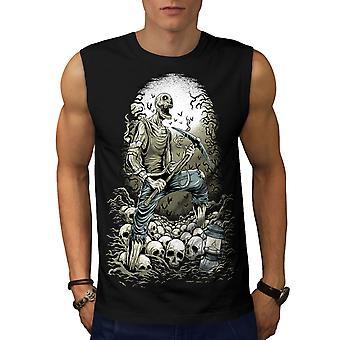 Camiseta de BlackSleeveless de los hombres de Zombie Miner cráneo Horror | Wellcoda