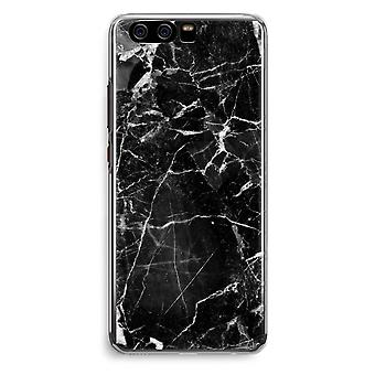 Huawei P10 Transparent Cover (Soft) - Black Marble 2