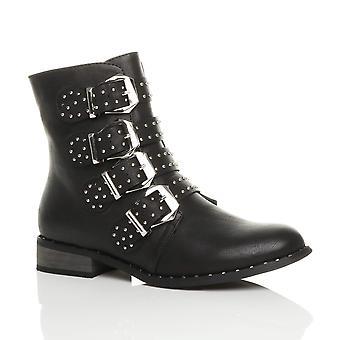 Ajvani womens block low heel studded buckle strap western biker ankle boots
