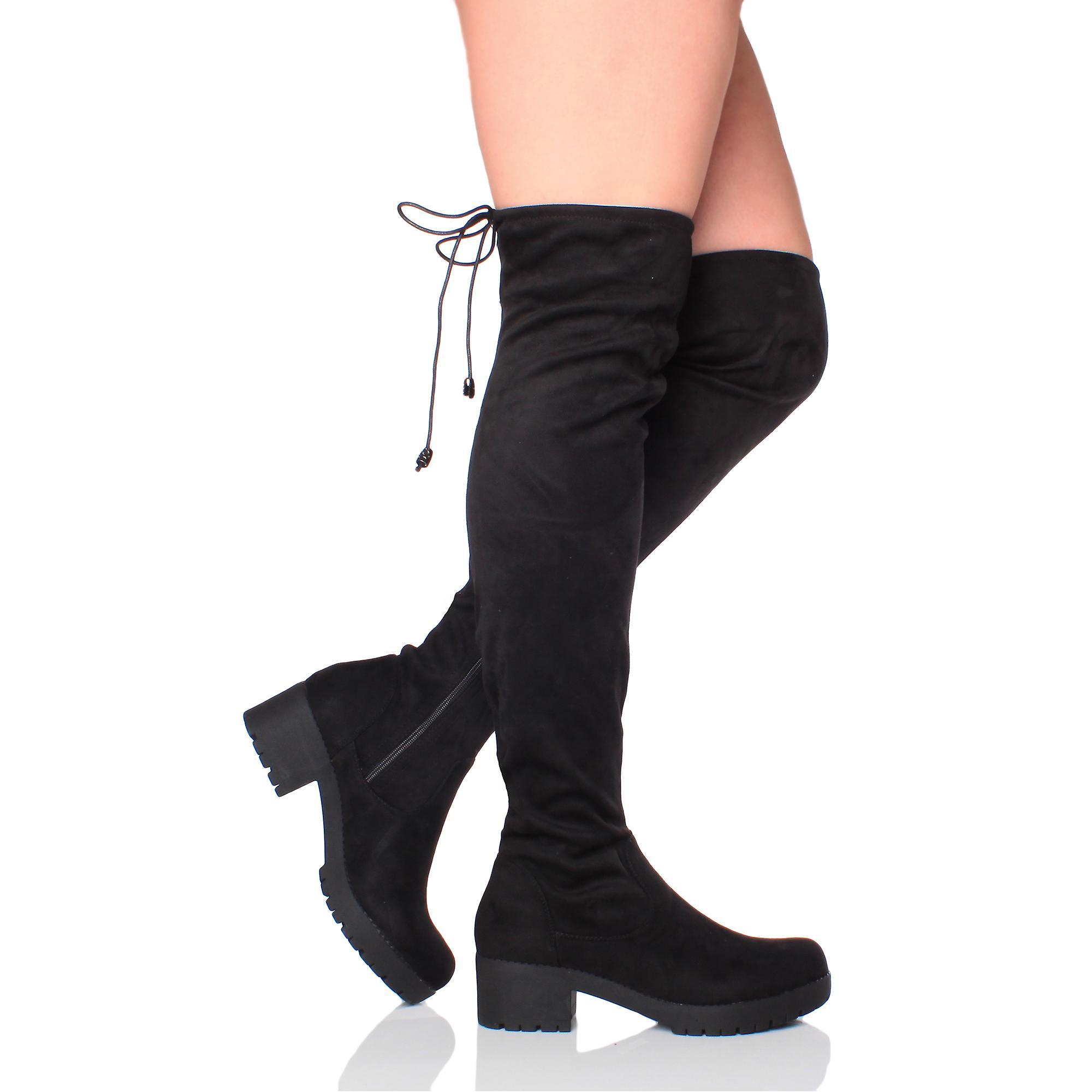 Ajvani womens low mid block heel chunky over knee stretch zip riding boots