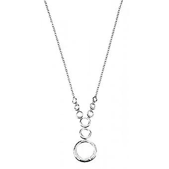 Elements Silver Hammered and Polished Disc Necklace - Silver