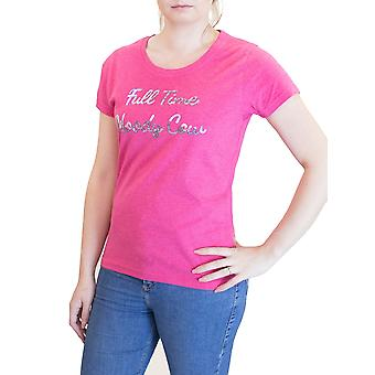 Full Time Moody Cow Tee - Vivid Pink