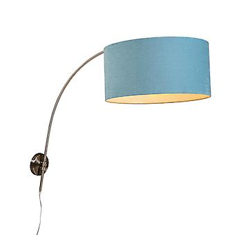 QAZQA Wall Arc Lamp Steel with 50/50/25 Cylinder Mineral Shade