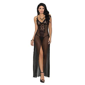 Womens Classic Long Mesh Lace Panel High Front Slit Gown Lingerie