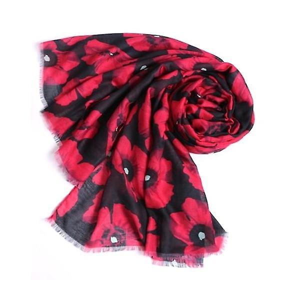 Union Jack Wear Black & Red Poppy Scarf