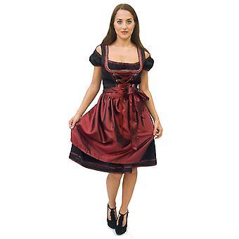 Dirndl Oktoberfest black red luxury pieces ladies costume with apron Oktoberfest