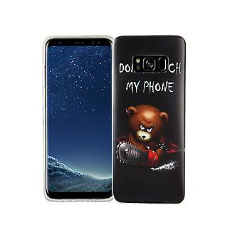 Mobile case for Samsung Galaxy S8 cover case protective bag motif slim silicone TPU lettering bear with chainsaw