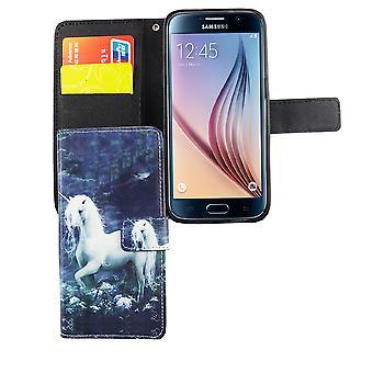 Handyhülle Tasche für Handy Samsung Galaxy S6 Einhorn Weiß