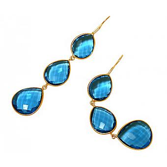 Earrings - 925 Silver - gold plated - Topaz quartz - blue - drops - 9 cm