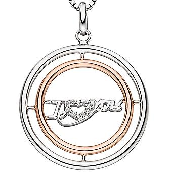 Necklace i Love You sterling silver gold plated bicolor with cubic zirconia