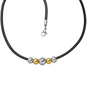Ожерелье цепь с Кулон шарики из нержавеющей стали биколор 8 цирконий кожаный ремешок 42 см