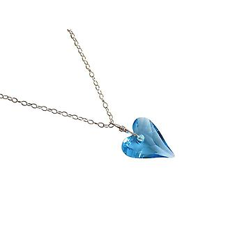 Hjerte halskæde YOLA blå 925 sølv med krystal element hjerte halskæde-sølv