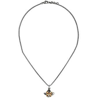 Necklace chain with pendant flower stainless steel rose gold color coated matt 48 cm
