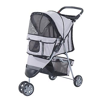PawHut Pet Travel Stroller Cat Dog Pushchair Trolley Puppy Jogger Carrier Three Wheels (Gray)