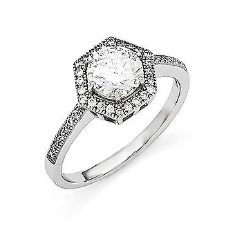 Sterling Silver Pave Rhodium-plated and Cubic Zirconia Brilliant Embers Ring - Ring Size: 6 to 8