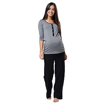 Women's Maternity Top Nursing Breastfeeding Pyjamas Crew Neck