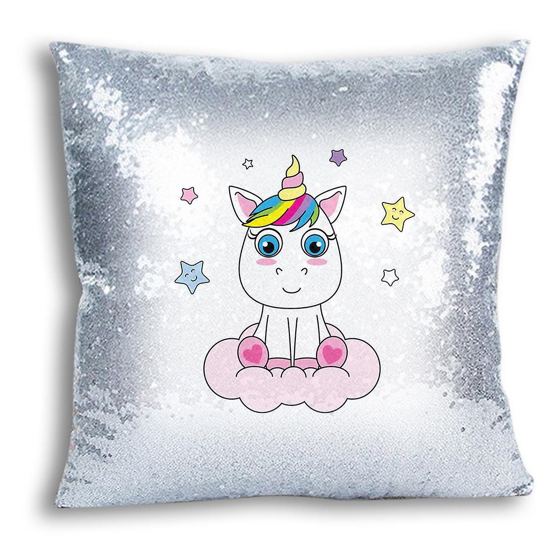 For Silver Printed I tronixsUnicorn 8 Decor Design Cover Home With Inserted Sequin CushionPillow 54ALq3Rjc