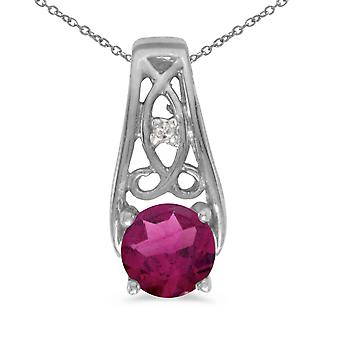 10k White Gold Round Rhodolite Garnet And Diamond Pendant with 18