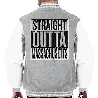 Black Text Straight Outta Massachusetts US States Men's Varsity Jacket