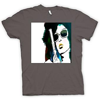 Womens T-shirt - Pop-Art Girl mit Pistole - coole Kunst