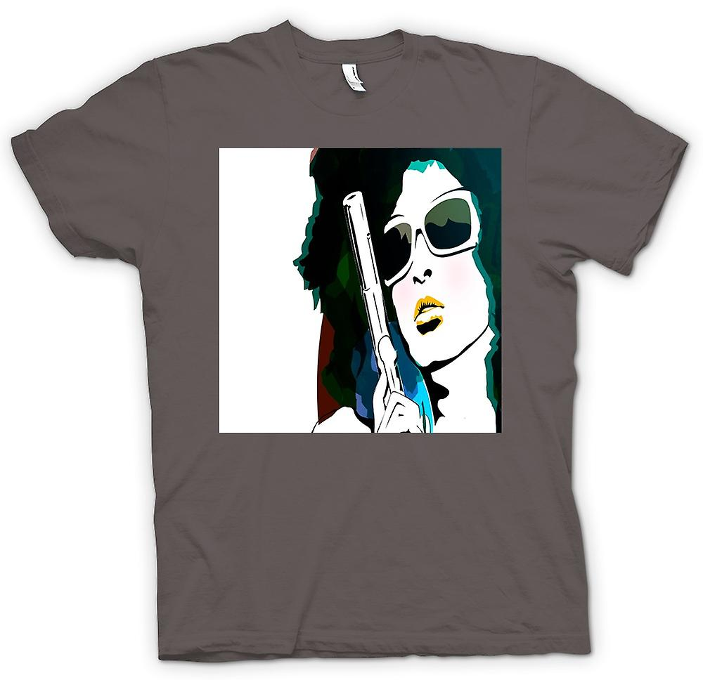 Mens T-shirt - Pop Art Girl With Pistol - Cool Art