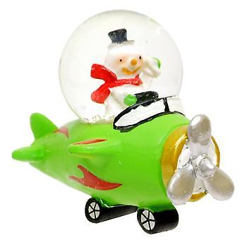 Gisela Graham Christmas Decoration 39202 B Snowman Aeroplane Snowglobe