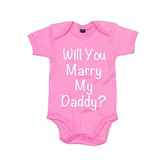 Will You Marry My Daddy Pink Baby Grow