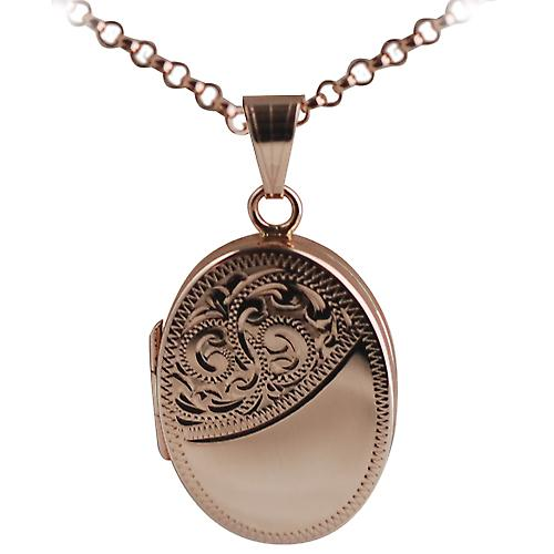 9ct Rose Gold 25x19mm engraved flat oval Locket with Belcher chain