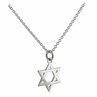 Silver 18mm plain Star of David Pendant with a rolo Chain 22 inches
