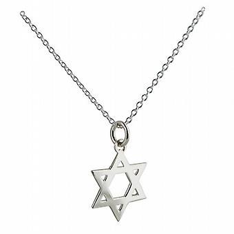 Silber 18 mm schlicht Stern von David Anhänger mit einem Rolo Kette 22 Zoll