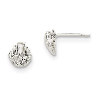 Sterlingsilber polierte Post Ohrringe Frosch Mini für Jungen oder Mädchen Ohrringe - 1,4 Gramm