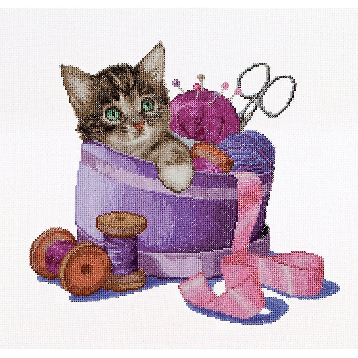 Sewing Basket Kitten On Aida Counted Cross Stitch Kit-12.25& 034;X11.75& 034; 16 Count