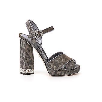 Dolce E Gabbana Silver Leather Sandals