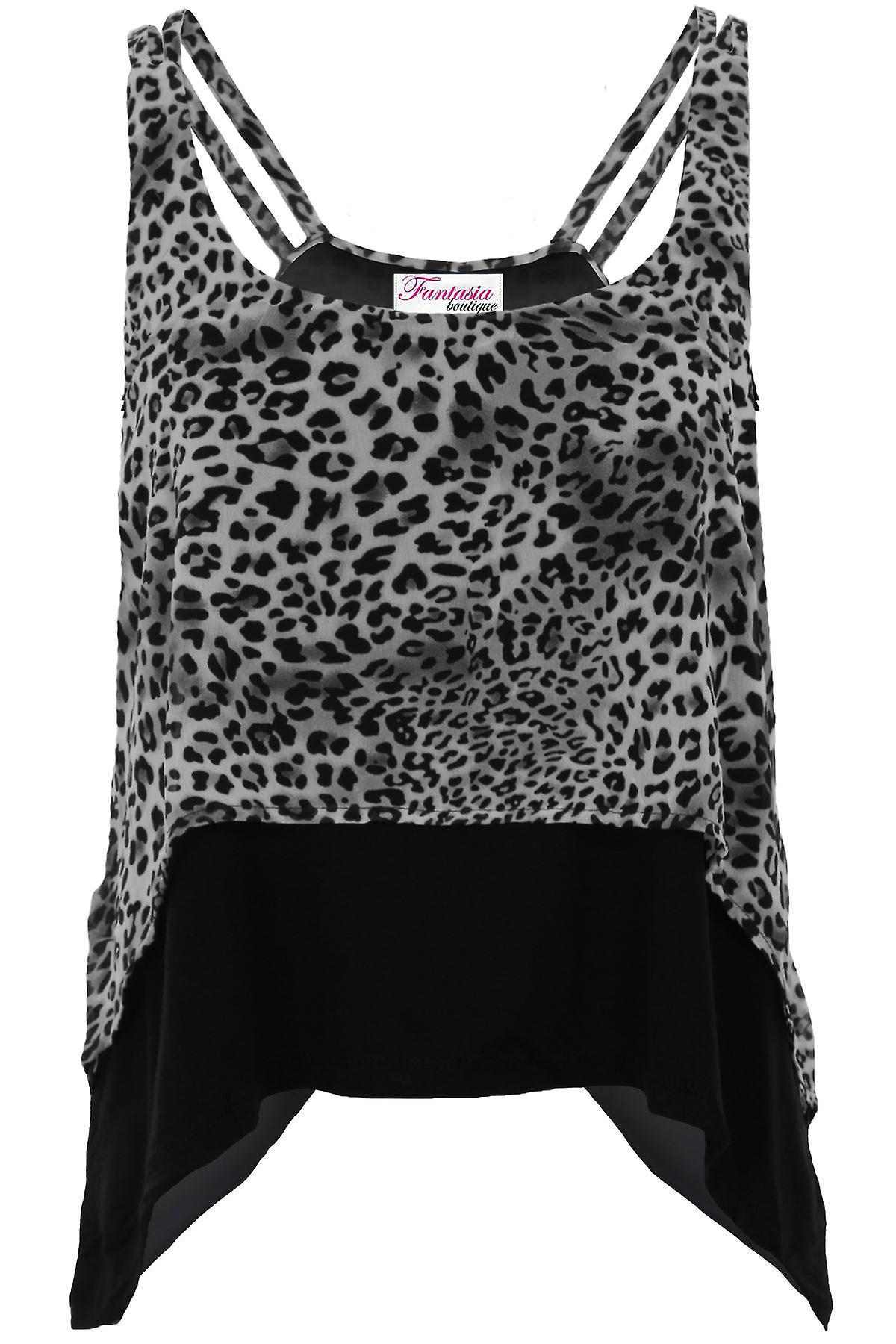 Ladies Leopard Strappy Chiffon Waterfall Layered High Low Cami Flare Baggy Top