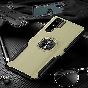 For Huawei P30 Lite Magnet Metal Ring Hybrid Case Gold Bag Cover Case Protection