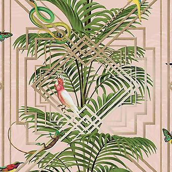 Birds Tropical Palm Trees Wallpaper Pink Metallic Gold Green Congo Holden Decor