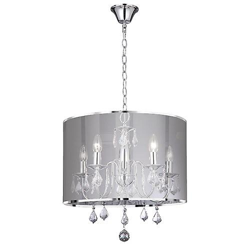 Searchlight 4805-5CC Venetian 5 Light Chrome Fitting With Metallic Silver Shade