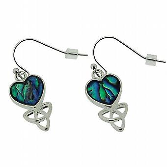 The Olivia Collection Silvertone Paua Shell Celtic Heart Drop Earrings