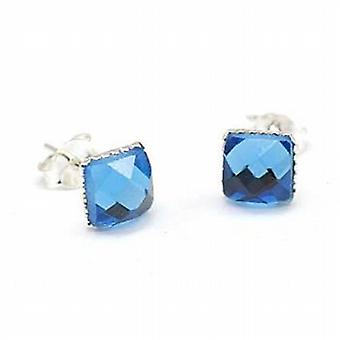 Toc Sterling Silver 6mm Blue Multi Faceted Crystal Stud Earrings