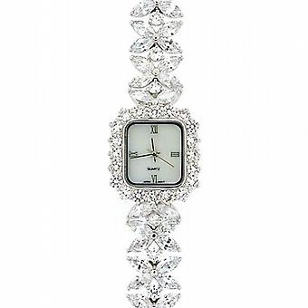 Damer Crystal Flower armbånd strop kjole Watch GOTW108