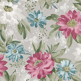 Painted Dahlia Raspberry Pink Grey Floral Wallpaper Flowers Feature Arthouse